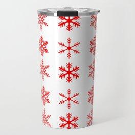 red snowflake seamless pattern Travel Mug
