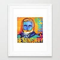 hemingway Framed Art Prints featuring HEMINGWAY by sandra de bedout