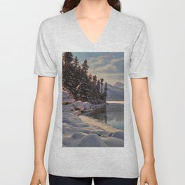 Winter Sunrise Lakeside in the Mountains by Ivan Fedorovich Choultsé Unisex V-Neck