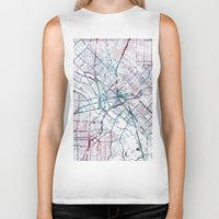 dallas Biker Tanks featuring Dallas map by MapMapMaps.Watercolors