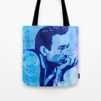 johnny cash Tote Bags featuring Johnny Cash by Jason Hughes
