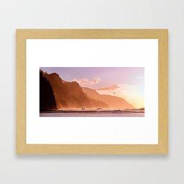 Sunset over the Na Pali coast of Kauai Framed Art Print