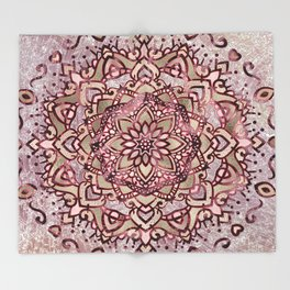 Burgundy plum mandala Throw Blanket
