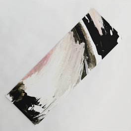 Crash: an abstract mixed media piece in black white and pink Yoga Mat