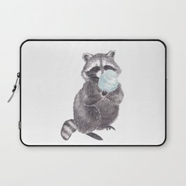 Raccoon with cotton candy Laptop Sleeve