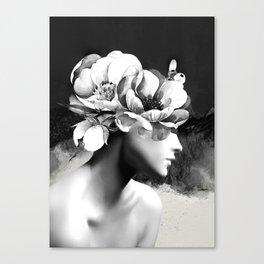 Floral Portrait-black and white Canvas Print
