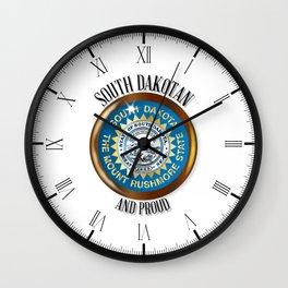 South Dakota Proud Flag Button Wall Clock