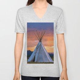 Southwest Teepee Sunset With Bird Unisex V-Neck