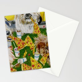 Canines Feast On New York Pizza Stationery Cards