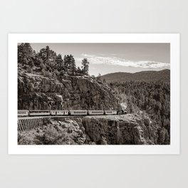 Durango Silverton Railroad Train Crossing the High Line - Sepia Art Print