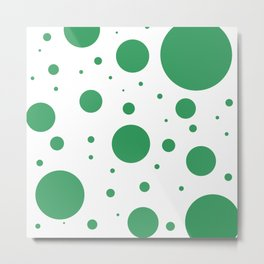 Kelly Green and White Bubbles Metal Print