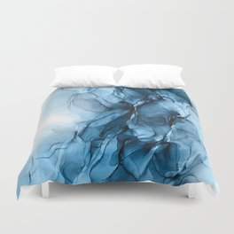 Deep Blue Flowing Water Abstract Painting Duvet Cover