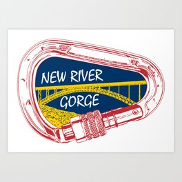 New River Gorge Climbing Carabiner Art Print