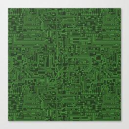 Circuit Board // Light on Dark Green Canvas Print