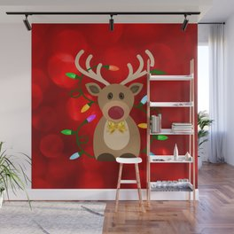 Christmas Reindeer in Lights Wall Mural