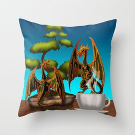 Hot Coffee with Bonsai and Fire Dragons Throw Pillow