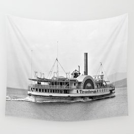 Ticonderoga Side Wheeler Steamboat Wall Tapestry