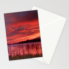 Red sunset. Lake Stationery Cards