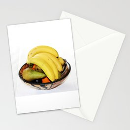 Fruit in a Wooden Bowl, Banana, orange, Pear, Plum Stationery Cards