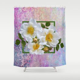 White Flowers with Inset Shower Curtain
