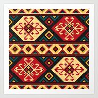 kilim Art Prints featuring Colorful Kilim by Pattern Design