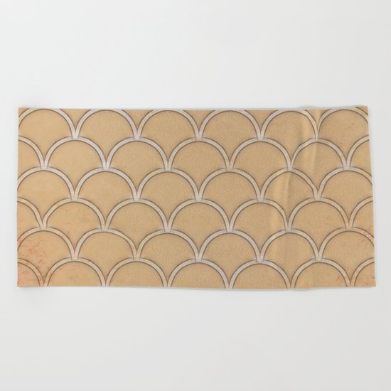 Abstract large scallops in iced coffee with texture Beach Towel