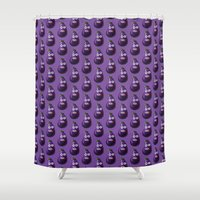 hiccup Shower Curtains featuring Funny Cartoon Eggplant Pattern by Boriana Giormova