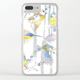 Bluetits in the forest Clear iPhone Case
