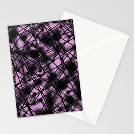 Web Of Lies - Black and pink conceptual, abstract, minimalistic artwork Stationery Cards