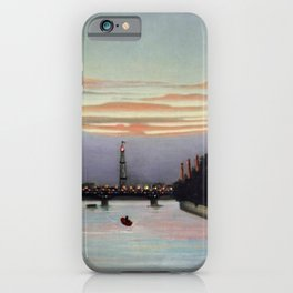Sunset and Neon Lights at the The Eiffel Tower, Paris, France by Henri Rousseau iPhone Case