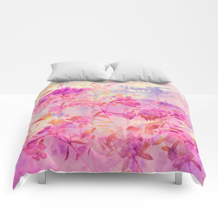 pink flowers and blue sky Comforters