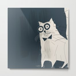 White Fashionable Cat Metal Print