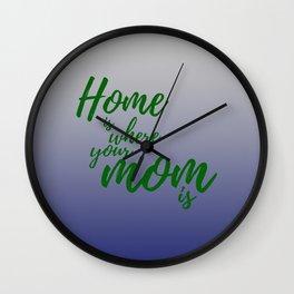 Mothers Day - Hunter Green - Navy Wall Clock