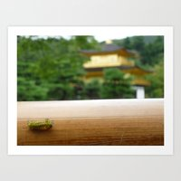 The Kinkaku-ji tiny caterpillar Art Print