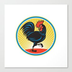 Rooster Cockerel Marching Side Retro Canvas Print
