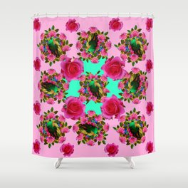 GREEN PEACOCK &  PINK ROSE GARDEN PINK PATTERN Shower Curtain