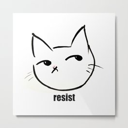 Resist kitty Metal Print