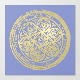 flower power: variations in periwinkle & gold Canvas Print