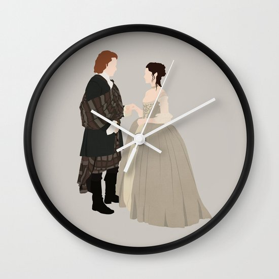 Outlander, Jamie and Claire Wall Clock by carolam | Society6