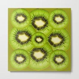 TROPICAL GREEN KIWI SLICED FRUIT MODERN ART Metal Print