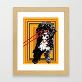 Doodle Dog With Laser Beam Eyes Pop Art Framed Art Print