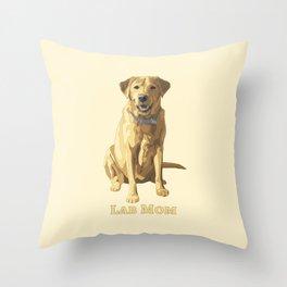 Dog Mom Yellow Labrador Retriever Throw Pillow