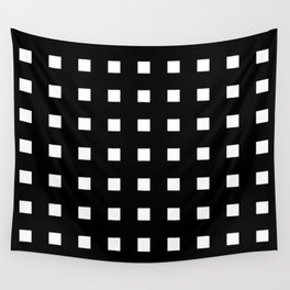 square and tartan 4 Black and white Wall Tapestry