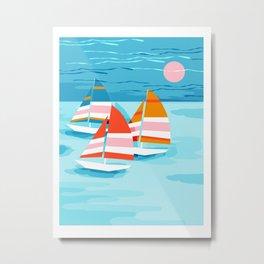 Popin - memphis sports retro throwback neon sailing sailboat cool rad gnarly trendy watersports Metal Print