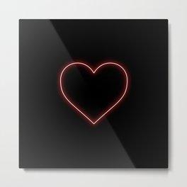 Neon Red Valentines Love Heart Metal Print