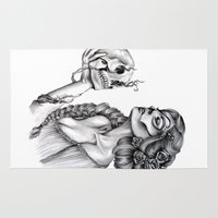sugar skull Area & Throw Rugs featuring Sugar Skull by April Alayne