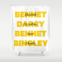 pride and prejudice Shower Curtains featuring Characters from Pride and Prejudice in Yellow by Bookish and Wonderful