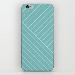 Abstract geometric lines soft turquoise iPhone Skin