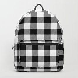 Large Black Christmas Gingham Plaid Check Backpack