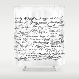 Famous Autographs of the late 1800s Shower Curtain